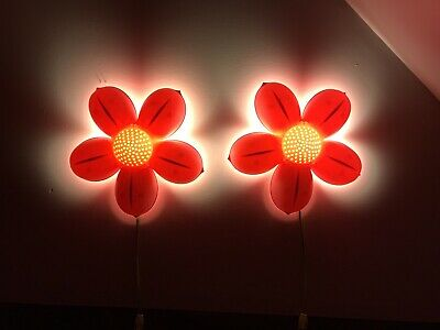 "2 Childrens Pink Flower Wall Lights 14""- Ikea Smila Blomma + 4 Lights/ Bulbs • 13.55£"