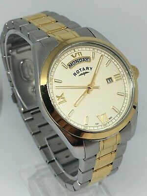 Rotary GB03017/09 Men's Two Tone Bracelet Watch Index Roman Dial DAY/DATE • 55£