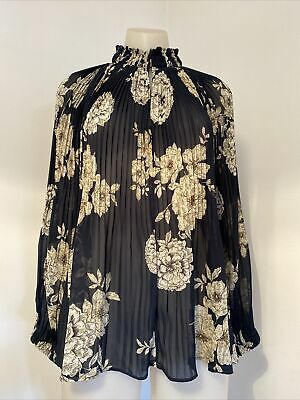 AU35 • Buy WITCHERY Navy & Beige Floral Pleated Sheer Long Sleeve Oversized Blouse. Size 10