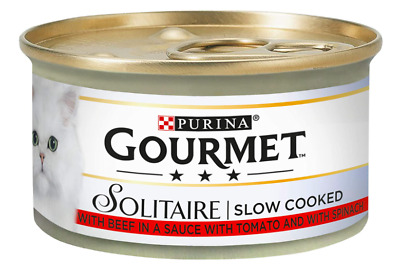 Gourmet Solitaire Beef With Tomato Sauce And Spinach 85g Cat Food Pack Of 12 • 10.75£
