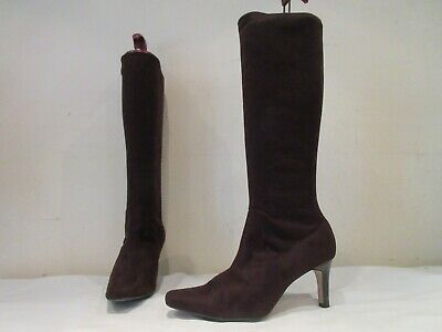 Marks And Spencer Brown Stretch Long High Heel Pull On Boots Uk 5 (3584) • 20£