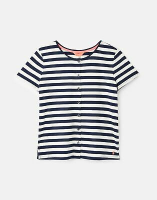 Joules  Marsha Button Through T-Shirt - French Navy Stripe • 6.95£