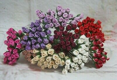 £2.99 • Buy 25x Mini Rose Buds Mulberry Paper Card Making Scrap Booking Varied Colours