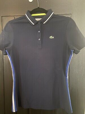 Lacoste Sport Womens Polo Navy Blue With Mesh Sleeves Size 36/UK 8 • 2.20£