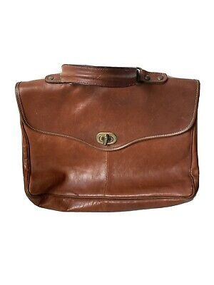 Vintage School Work Laptop Messenger Bag Tan Real Leather Lined Women • 12£