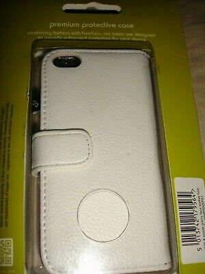 IPhone 5  Grainy Faux Leather Folio Cover - White & Purple NEW • 0.97£