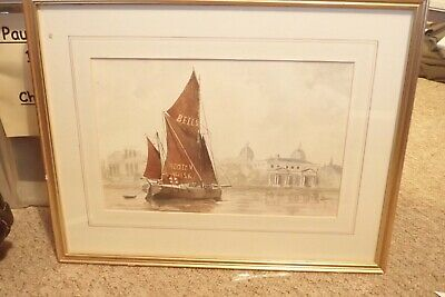 BELLS WHISKY BARGE OFF GREENWICH By GARTH ALLAN - 1993 WATERCOLOUR PAINTING • 24.99£