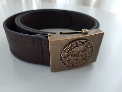 Burberry Men's Belt Leather Belt With Antique Logo Brass Buckle UK Size 36 BN • 250£