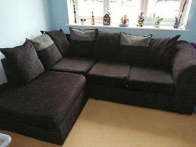 Black And Grey Sofa In Lovely Condition  • 120£