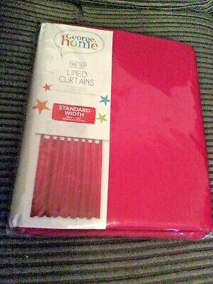 "Tab Top Curtains Pair Pink Girls Lined Size Wide 66"" Drop 54"" New  By George  • 11.99£"