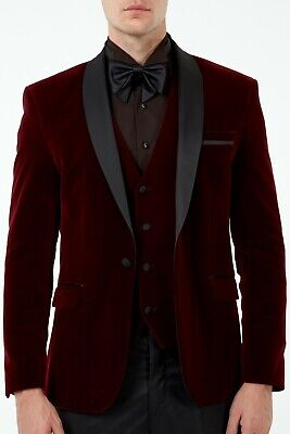 $ CDN281.43 • Buy Jack Martin - Wine Burgundy Velvet Dinner Jacket / Tuxedo
