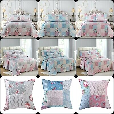£32.29 • Buy New Floral Patchwork Quilt Bedspread Bedding Set With Cushion Cover In All Sizes