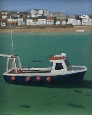 TIM TREAGUST Original Contemporary Painting 'The Blue Boat' St Ives Cornwall • 70£