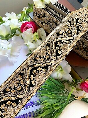 Black Latest Indian Velvet Lace Gold Zari Sequin Craft Sewing Dupatta Trim • 38.09£
