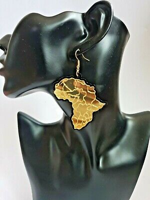 African Woman Afro Stylish Earrings Map Of Africa  Jewellery  - Gold • 3.99£