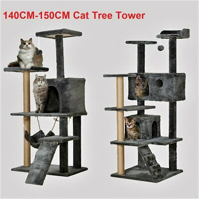 Large Cat Tree Tower Condo Furniture Scratching Kitty Kitten Play House XL XXL • 32.99£