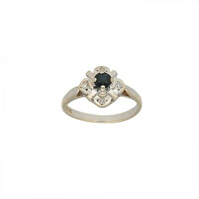 9ct Gold Diamond & Sapphire Ring 2.3g Cluster Size K - Fully Hallmarked • 90£
