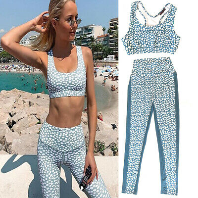 Polka Dot Women Yoga Set Fitness Workout Gym Suit (Sports Bra And Leggings) • 15.99£