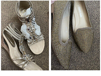 Silver Gold Gladiator Cut Out Jewelled Sandals Size 3.5 Nude And Khaki Studded • 7£