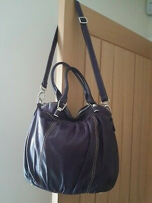 Hobbs Hobo Slouchy Crossbody/HandBag/Shoulder Bag/Purple Soft Leather♡♡ • 19.99£
