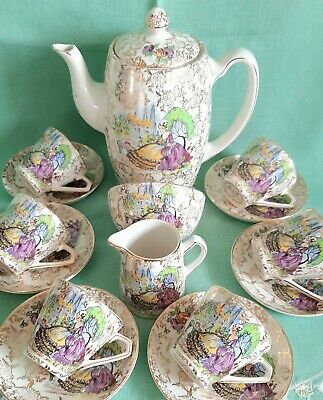 Vintage China Coffee Set Cups Pot Crinolene Lady Lord Nelson Ware Staffordshire • 35£