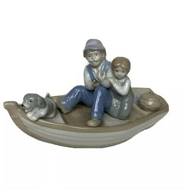 $ CDN39.53 • Buy Paul Sebastian Fish Boat Porcelain Figurine Meico Grandpa Grandson Dog Vintage