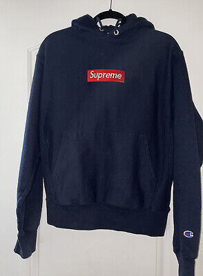 $ CDN66.82 • Buy CHAMPION Navy Size Medium With SUPREME Patch Hoodie