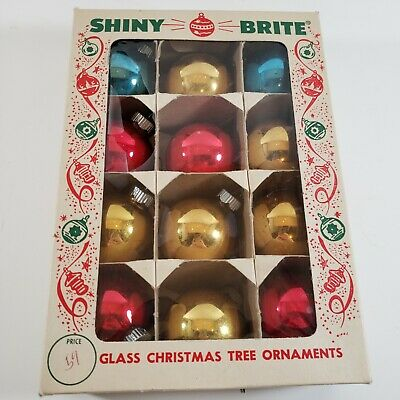 $ CDN19.81 • Buy 12 Vintage Glass Christmas Ornaments Shiny Brite With Box Red Blue Gold Brites