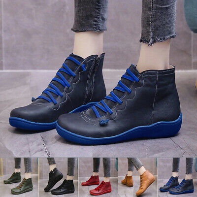 Womens Casual Lace Up Ankle Boots Arch Support Trainers Flats Sports Shoes Size • 20.89£