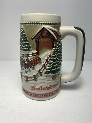 $ CDN10.33 • Buy 1984 Budweiser Holiday Christmas Beer Stein Clydesdale Covered Bridge Mug