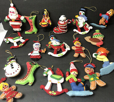 $ CDN31.70 • Buy Vintage Handmade Felt & Sequin Christmas Ornaments Beaded 18 Big Lot