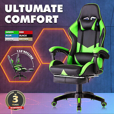 AU25.90 • Buy Gaming Office Chair PU Leather Footrest Executive Racing Computer Backrest Seat