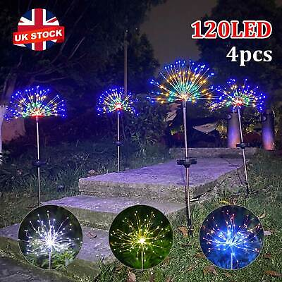 4X 120LED Garden Path Lights Solar Power Firework Lamp Starburst Stake Outdoor • 20.99£