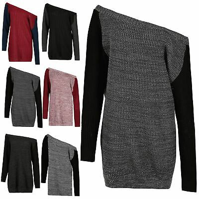 Ladies Chunky Knitted Contrast Jumper Womens Off The Shoulder Top Sweater Dress • 9.49£