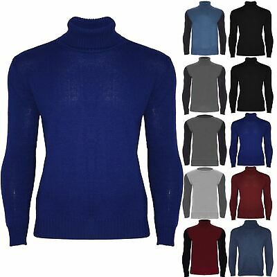 Mens Winter High Polo Roll Turtle Funnel Neck Knitted Sweater Pullover Jumper • 5.49£
