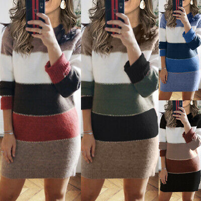 Women Christmas Bodycon Dress Ladies Evening Party Mini Dress Knitted Sweater UK • 17.79£