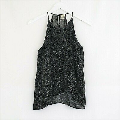 $ CDN28.07 • Buy ANTHROPOLOGIE Paper Crane Sz Small Black White Polka Dot Tiered Sleeveless Top