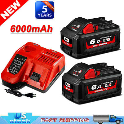$47.49 • Buy For Milwaukee M18 Liion XC 6.0 Extended High Capacity Battery 48-11-1860 Charger