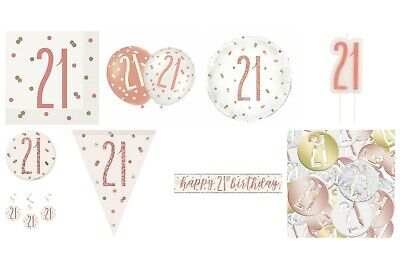 Rose Gold Glitz 21st Birthday Party Supplies Tableware, Balloons, Decorations • 1.99£