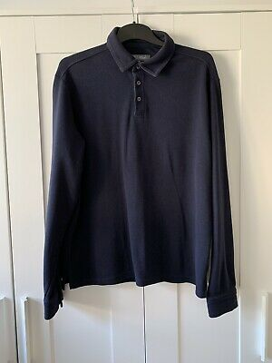 Mens Marks & Spencer Long Sleeve Polo Rugby Shirt Size Medium Chest 38-40 • 4.90£