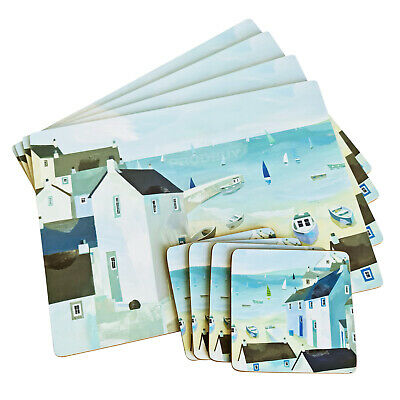 £12.99 • Buy Set Of 4 Placemats & Coasters Table Settings Mats Coastal Nautical Harbour Beach
