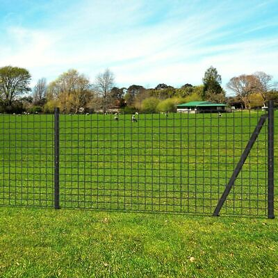 VidaXL Euro Fence Set Wire Mesh Panels With Ground Spikes 25x1 M Steel Grey • 173.99£
