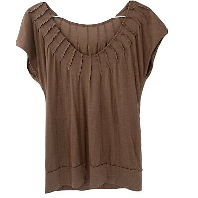 $ CDN0.01 • Buy Anthropologie Triangle Women's Top S Brown Pleated Tee Shirt Short Sleeve Pima