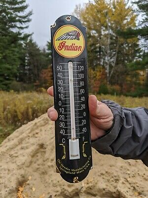 $ CDN137 • Buy Old Vintage 1950's Indian Motorcycle Thermometer Porcelain Gas Sign Works!!