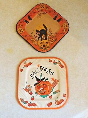 $ CDN13.20 • Buy Incredible Lot ORIGINAL Vintage Halloween Plates Black Cat Owls Jack-O-Lantern