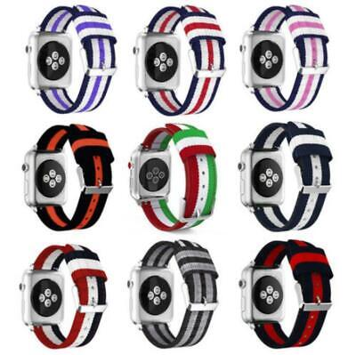 $ CDN7.70 • Buy For Apple Watch Series 5 4 3 2 Woven Nylon Stripe Band Strap IWatch 38/42/40/44