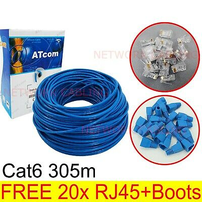AU84.85 • Buy Sale Cat6 305M UTP Ethernet Lan Network Solid Cable Roll RJ45 Plug & Boot Free
