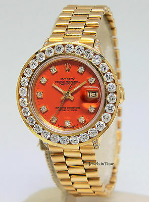 $ CDN9690.35 • Buy Rolex Vintage Datejust 18k Yellow Gold Orange Diamond Ladies Watch 6517
