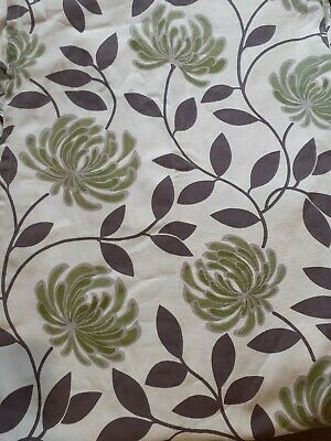Sandown&bourne 100% Cotton Curtains Natural With Brown And Green Pattern • 12.50£