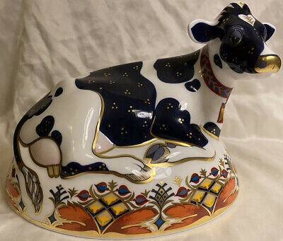 """Royal Crown Derby Friesian Cow """"Buttercup"""" Paperweight - Large - Gold Stopper • 27.60£"""